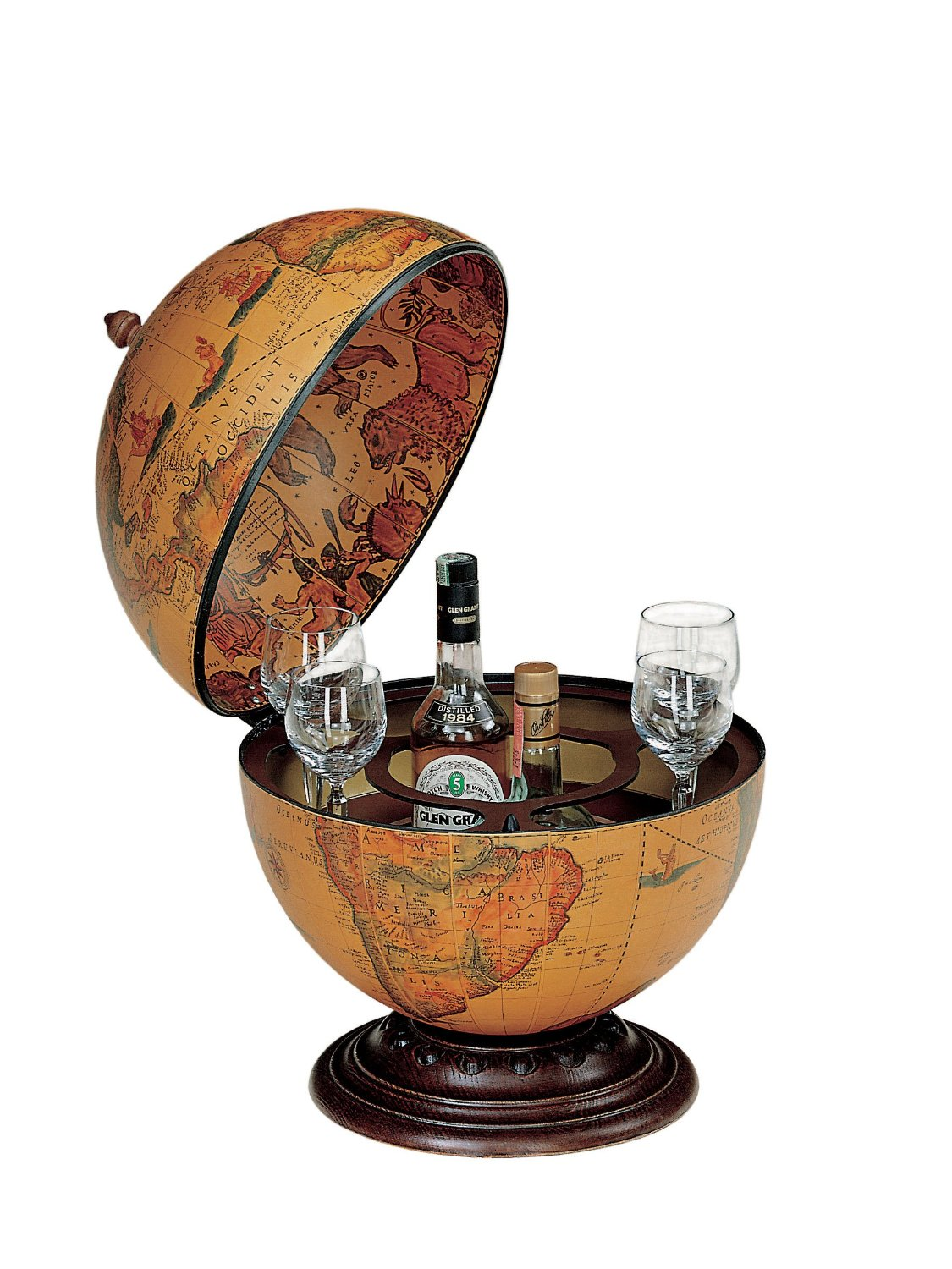 - Antique Effect Bar Globe Drinks Cabinet